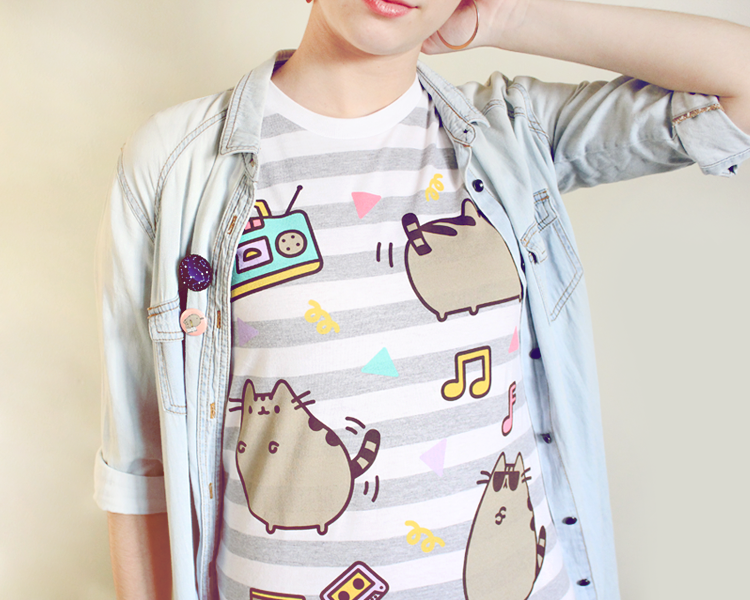 The Pusheen Dance Party tee paired with chambray-- so 90s!
