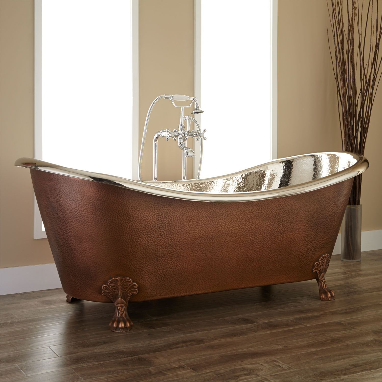Norah Victorian Copper Slipper Clawfoot Tub - Nickel Interior | For ...