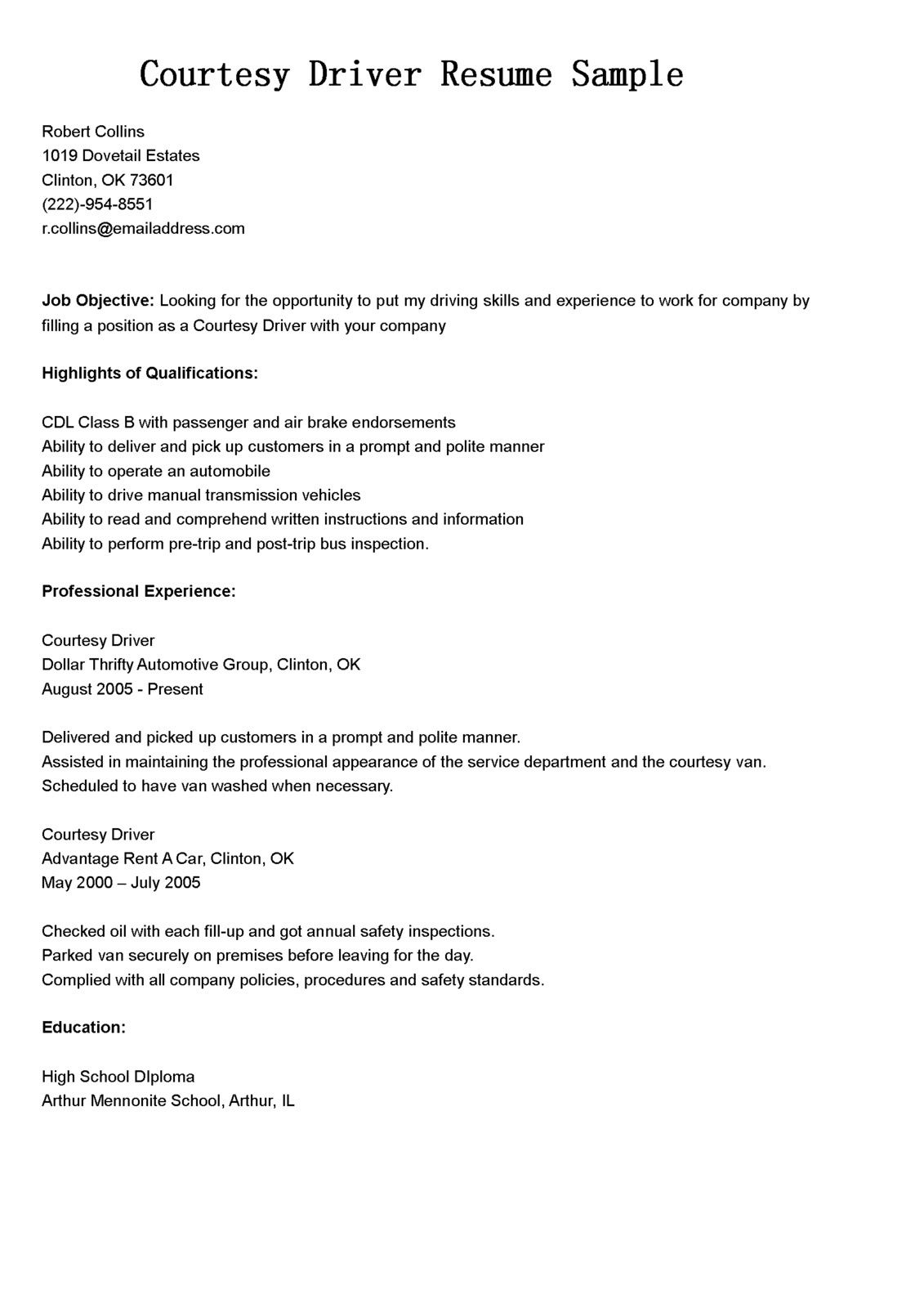 Cdl Class B Resume Examples — Scheduled Resume examples