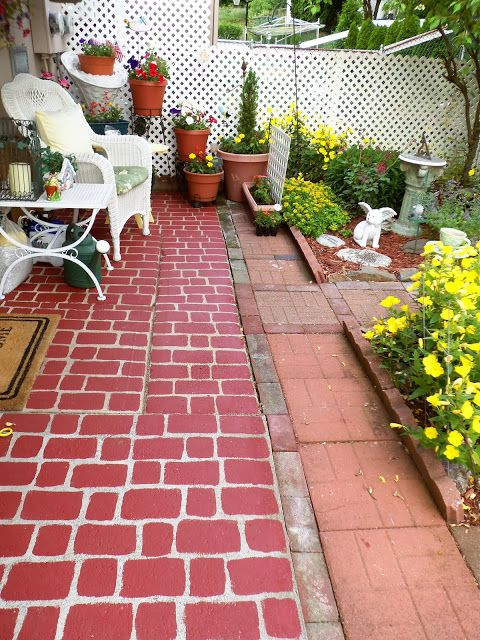 Concrete patio painted to \