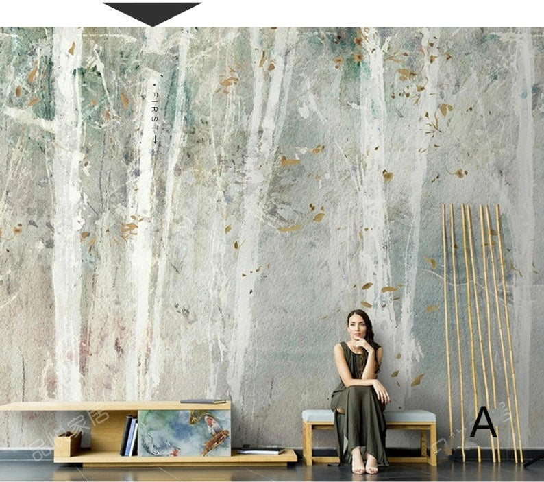 White Trunks Mural Wallpaper in 2020 (With images) Birch