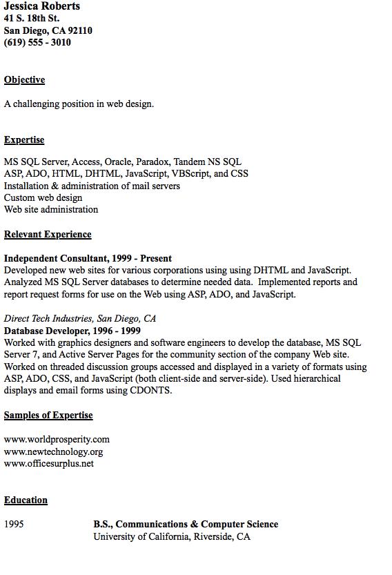 San Administration Sample Resume Example Of Web Design Resume  Httpresumesdesignexampleof .