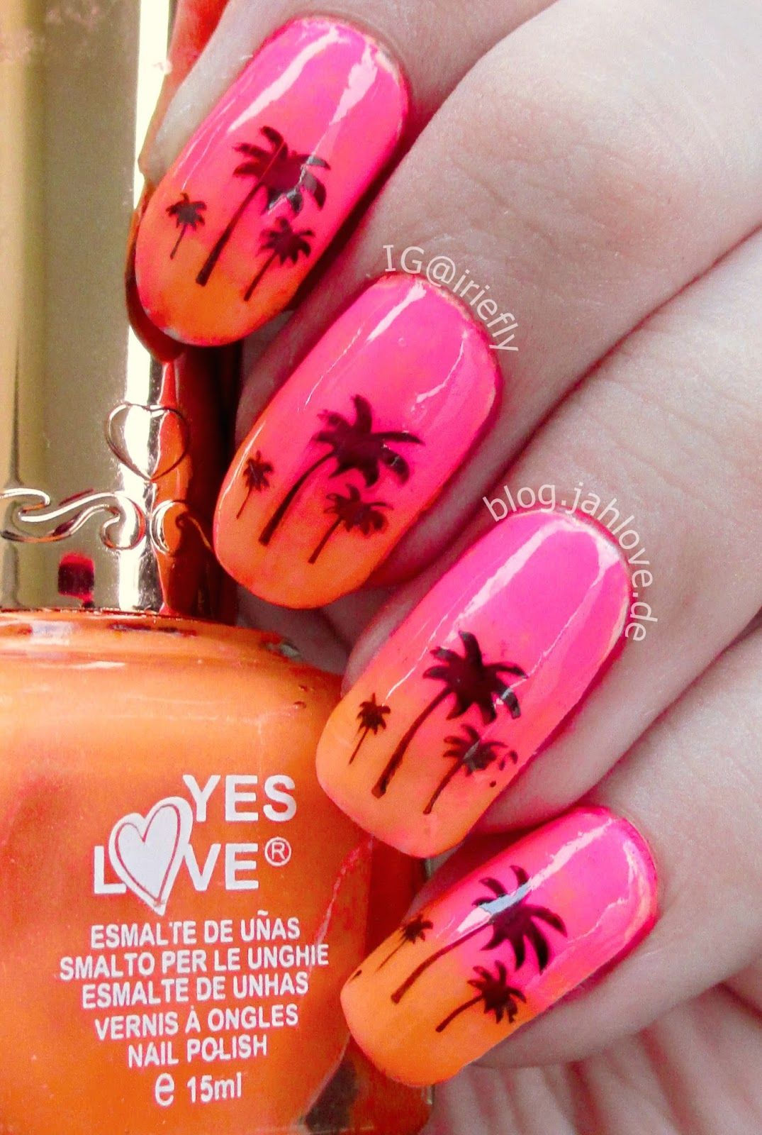 Blogjahlove Nails Yes Love Neon Ombr In Orange Pink