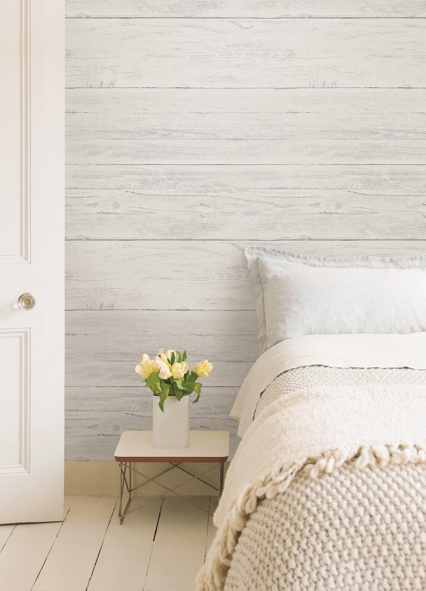 Wallpops Shiplap Reclaimed Wood Peel And Stick Wallpaper Wood Feature Wall Distressed White Bedroom Furniture Feature Wall Bedroom