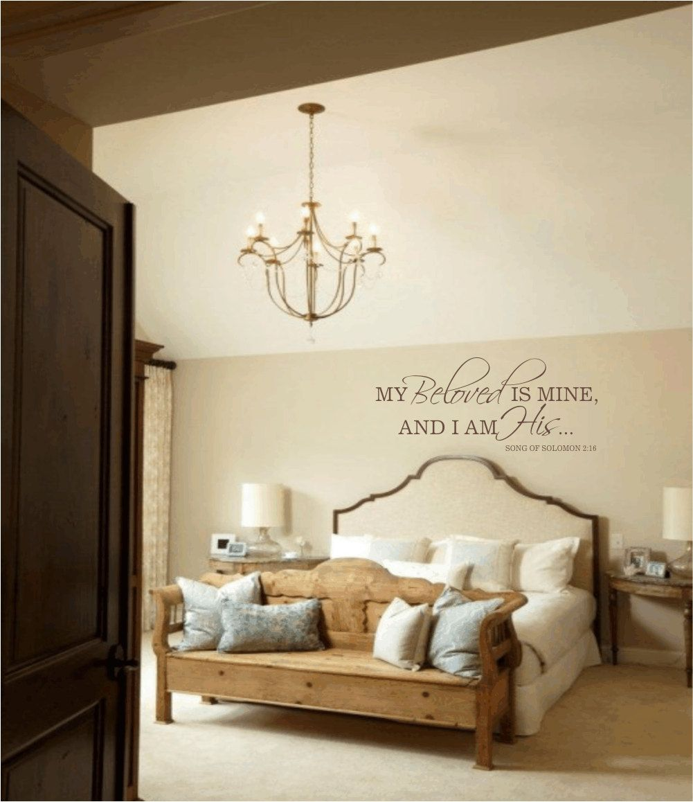 Master bedroom wall decal my beloved is mine and i am his for Bedroom vinyl quotes