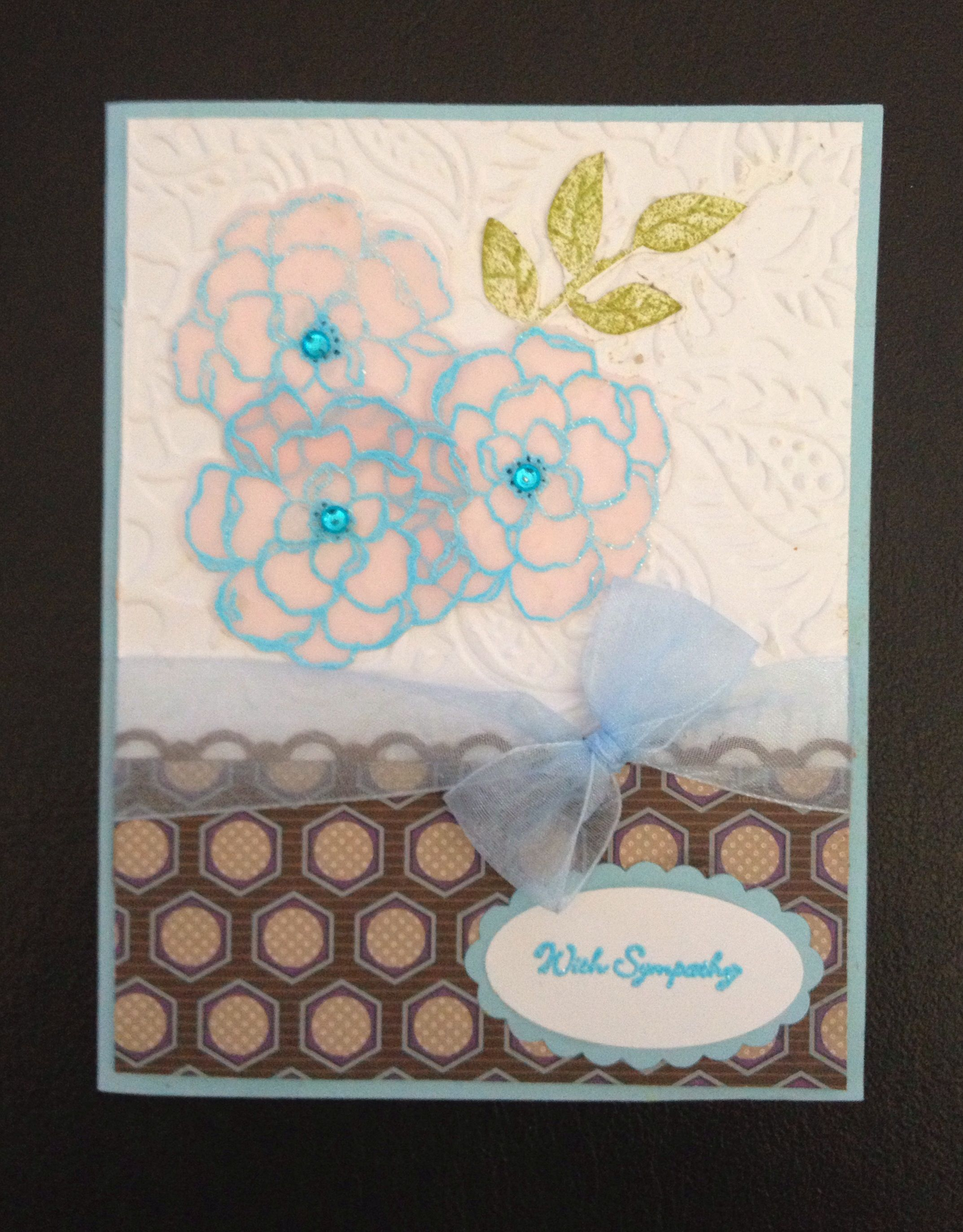 Sympathy card with flowers. Stampin up style.