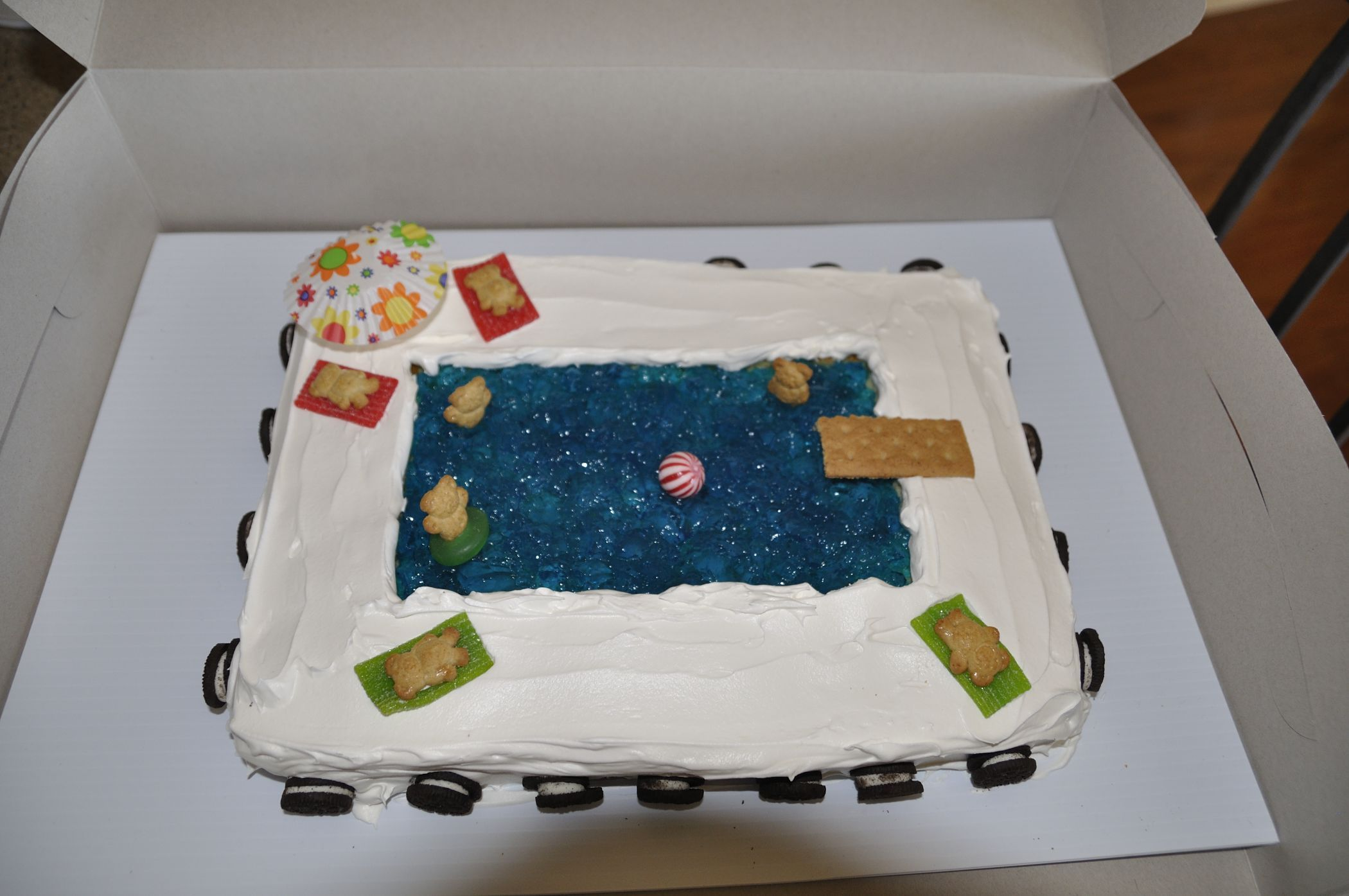 Swimming Party Pool Party Cake With Jello As Water Birthday Pinterest Pool Party Cakes
