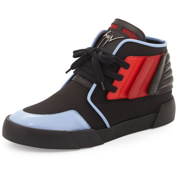 fad32388b12f Giuseppe Zanotti Foxy London High-Top Sneaker (2.740 BRL) ❤ liked on  Polyvore featuring men s fashion, men s shoes, men s sneakers, red, mens  red high top ...