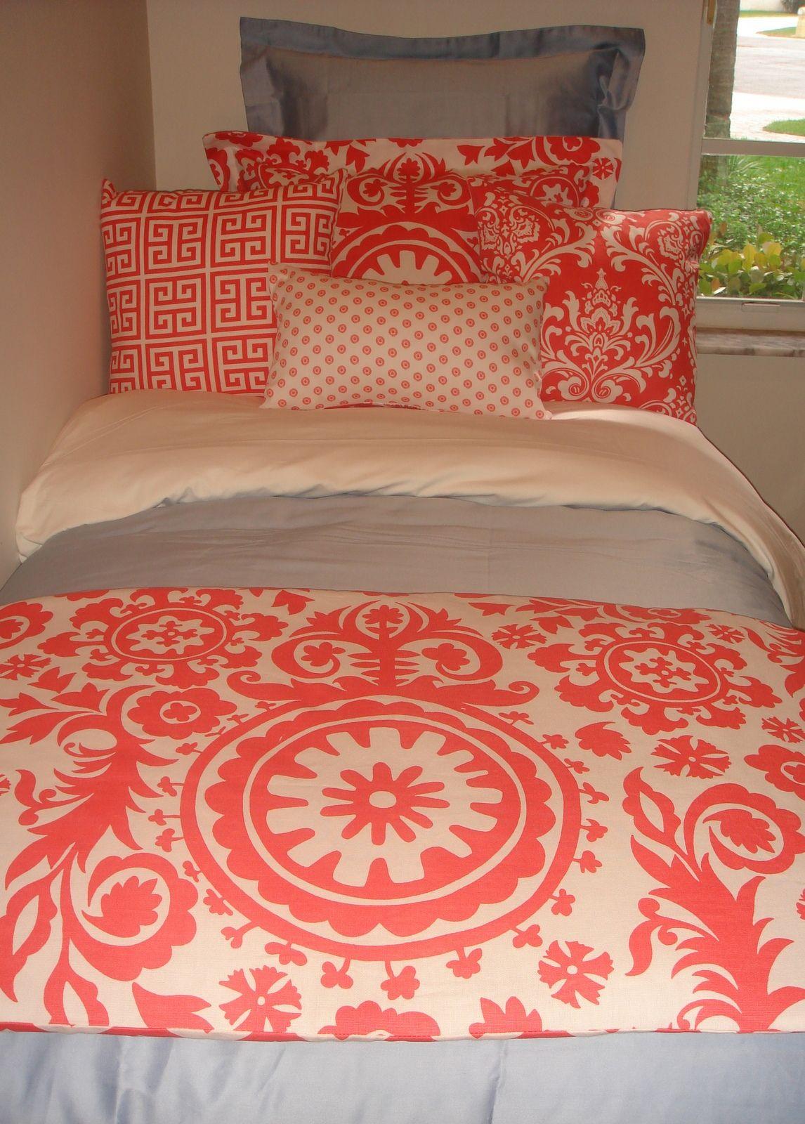 Dorm Bedding Decor Navy Quatrefoil Coral Damask Designer Dorm Bedding Set