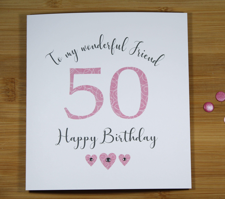 50th Birthday Card Mum Sister Wife Daughter Cousin Niece Etsy 50th Birthday Cards 40th Birthday Cards 50th Birthday Cards For Women