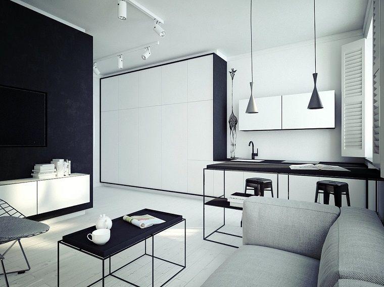 diseno cocinas abiertas salon apartamento pequeno blanco negro ideas ...
