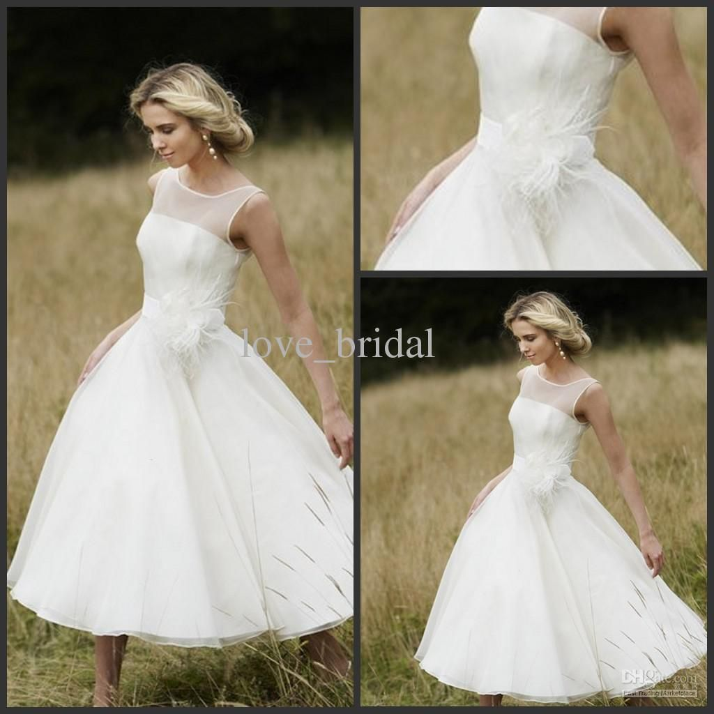 Wholesale beach wedding dresses custom made bateau knee length