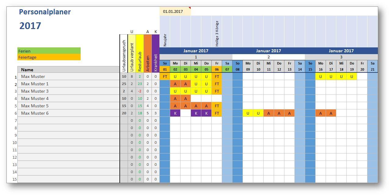 Personalplaner ist eine kostenlose Excel-Vorlage zur ...