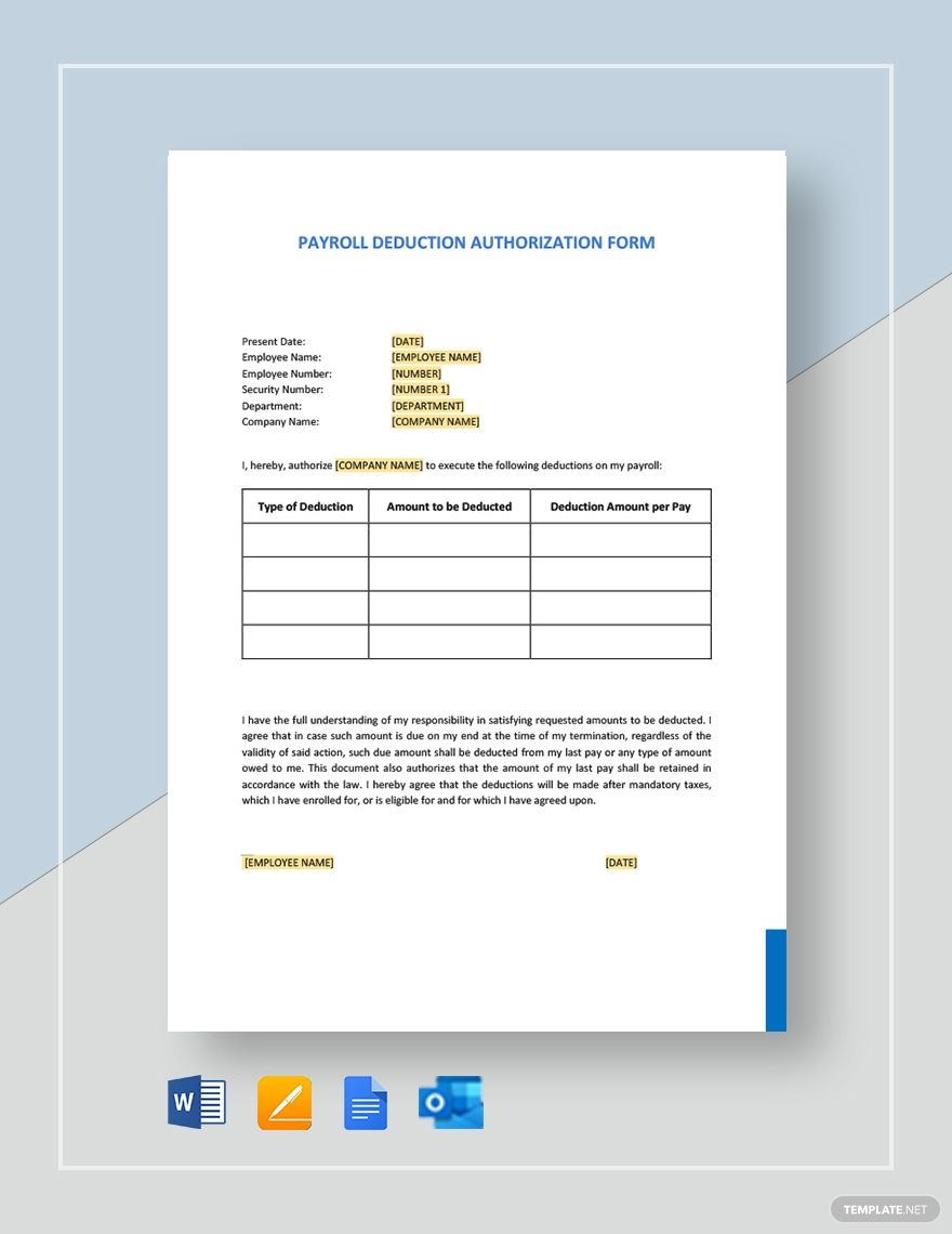 Browse Our Image Of Employee Payroll Deduction Form Template Payroll Deduction Business Template