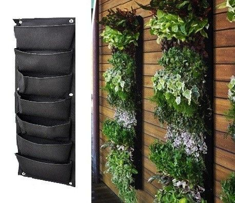 7 pocket outdoor vertical living wall planter planters for Outdoor vertical wall garden
