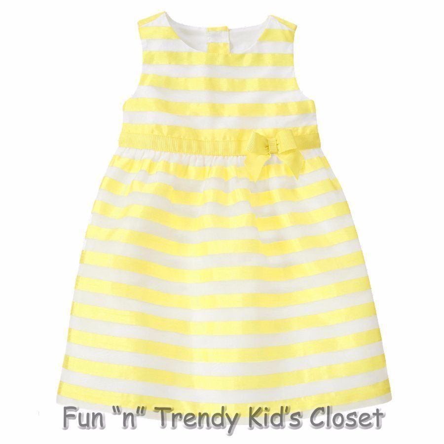b5a8ca97c22b NWT Gymboree EGG HUNT Girls Size 2T 3T Lined Yellow Striped Dress Easter  Spring…