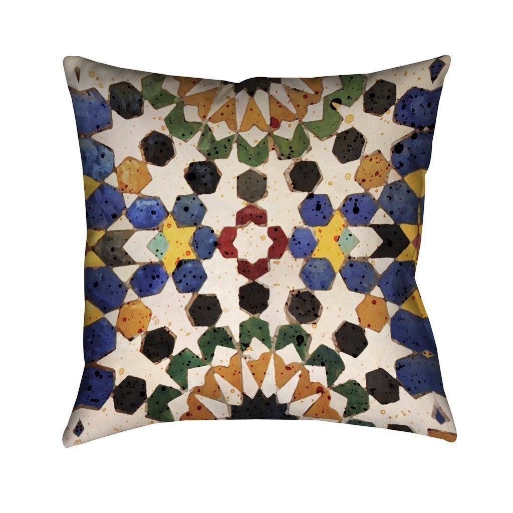 Laural Home Bright Tiles Indoor- Outdoor Decorative Pillow (Bohemian/Modern), Multicolor, Outdoor Cushion