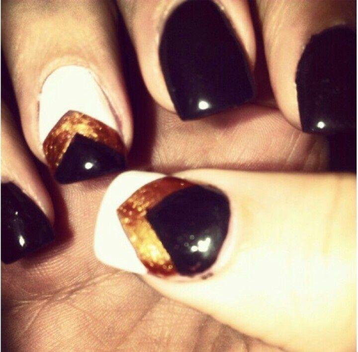 White Gold And Black Nails Nail Art Pinterest Nails Black