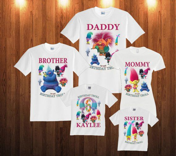 53677b130 Trolls Birthday Long Sleeve and Short Sleeve Shirt, Custom personalized t- shirts for all family