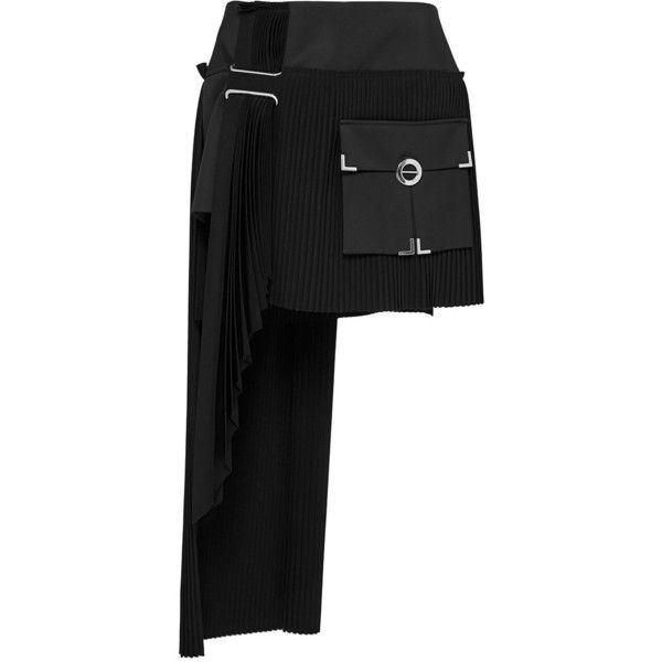 Anthony Vaccarello Asymmetric Pleated Skirt With Side Cargo Pocket ($2,290) ❤ liked on Polyvore featuring skirts, panel skirt, high waisted knee length skirt, asymmetrical skirt, cargo pocket skirt and high waisted skirts