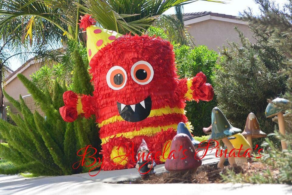 Little Monster Piñata Custom Hand Made Piñata 1st birthday Pinata Little Red monster birthday #1 pinata Any Color or Little Monster Pinata by angelaspinatas on Etsy https://www.etsy.com/listing/209245099/little-monster-pinata-custom-hand-made