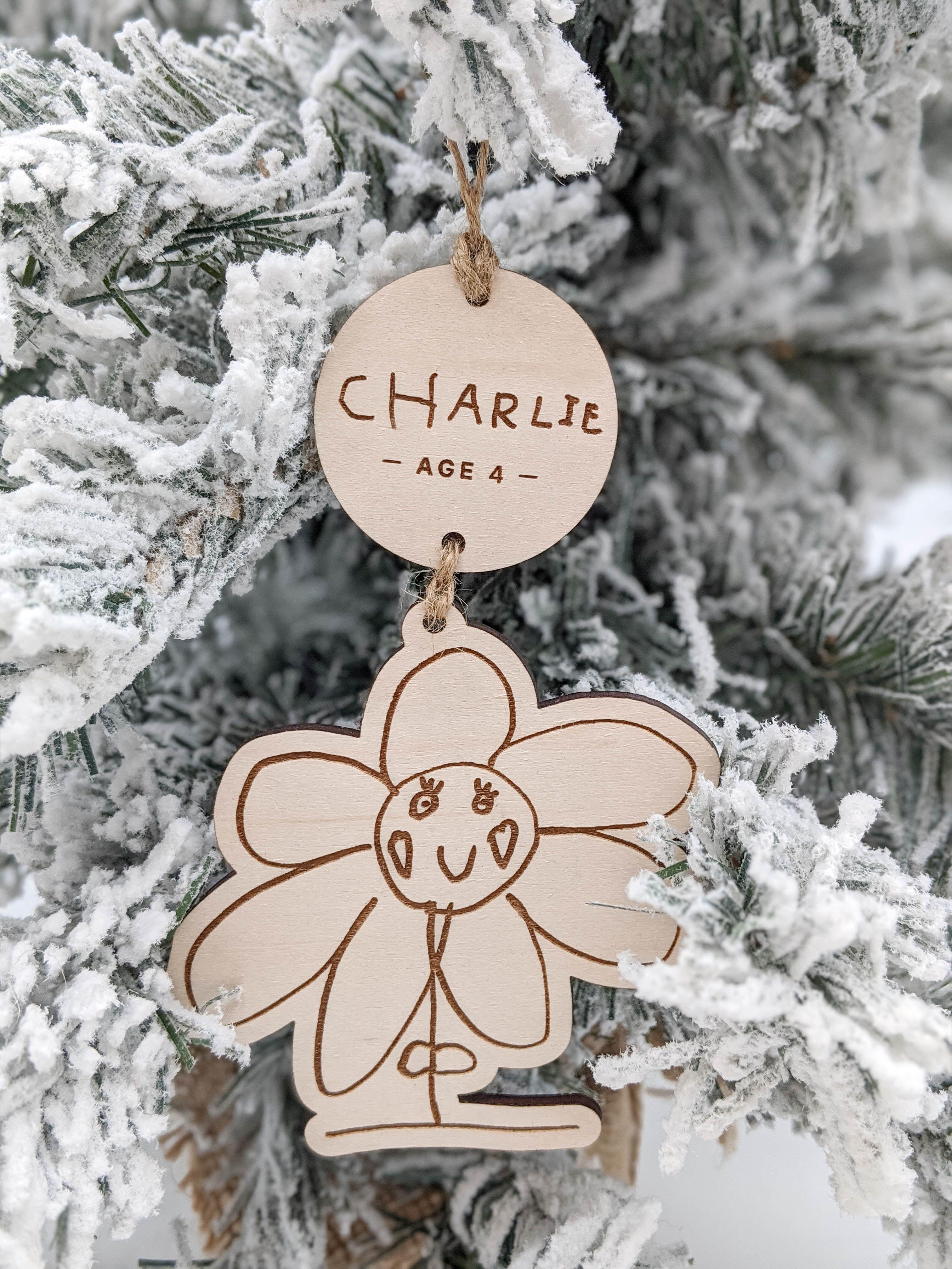 Snow Globe Christmas Keepsake Handwritten Your Child/'s Drawing Ornament Kid/'s Handwriting Artwork Personalized Name Wood Engraved