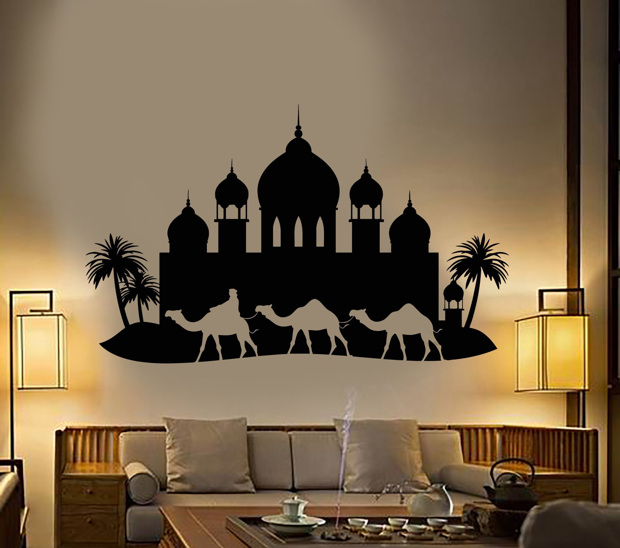 Vinyl Wall Decal Arabian Palace Palm Trees Bedouin Arabic Style Stickers Unique Gift 1138ig Arabic Decor Arabian Decor Vinyl Wall