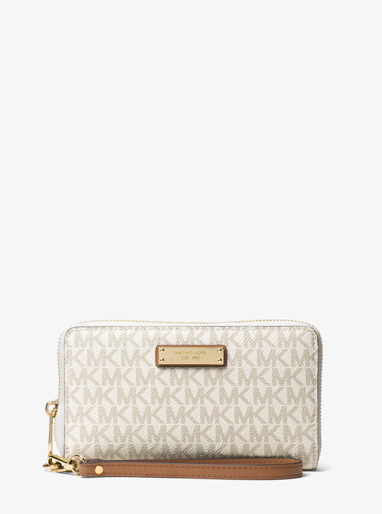 Sale Michael Kors Vanilla Jet Set Travel Logo Smartphone Wristlet Discount Online Handbags Michael Kors Purses Michael Kors Handbags Designer Michael Kors