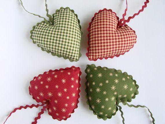 Cotton Fabric Hearts, Christmas Tree Ornaments, Set Of 4