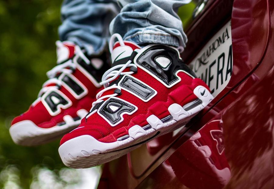 92a220e91c #Nike Air More Uptempo OG color: red, black and white Material/  composition: Syntetic fabric an leather