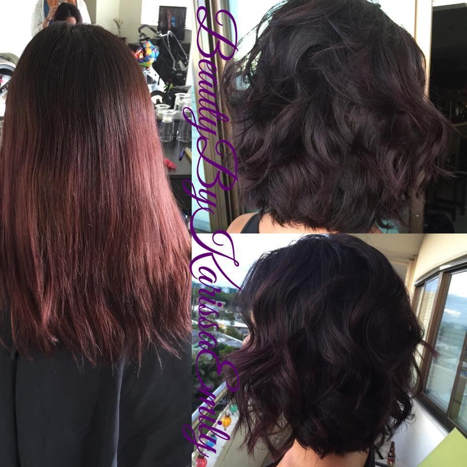 Violet red short hair haircut makeover bob long bob lob
