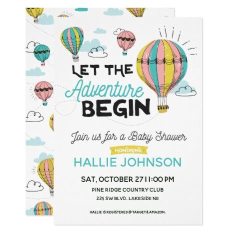 Adventure Hot Air Balloon Shower Invitation | Zazzle.com