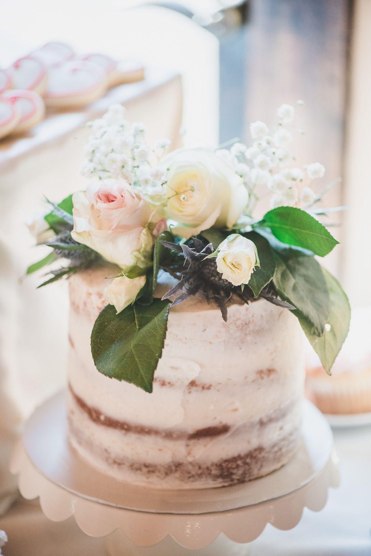 Mini wedding cake with rose topper Magnolia Plantation