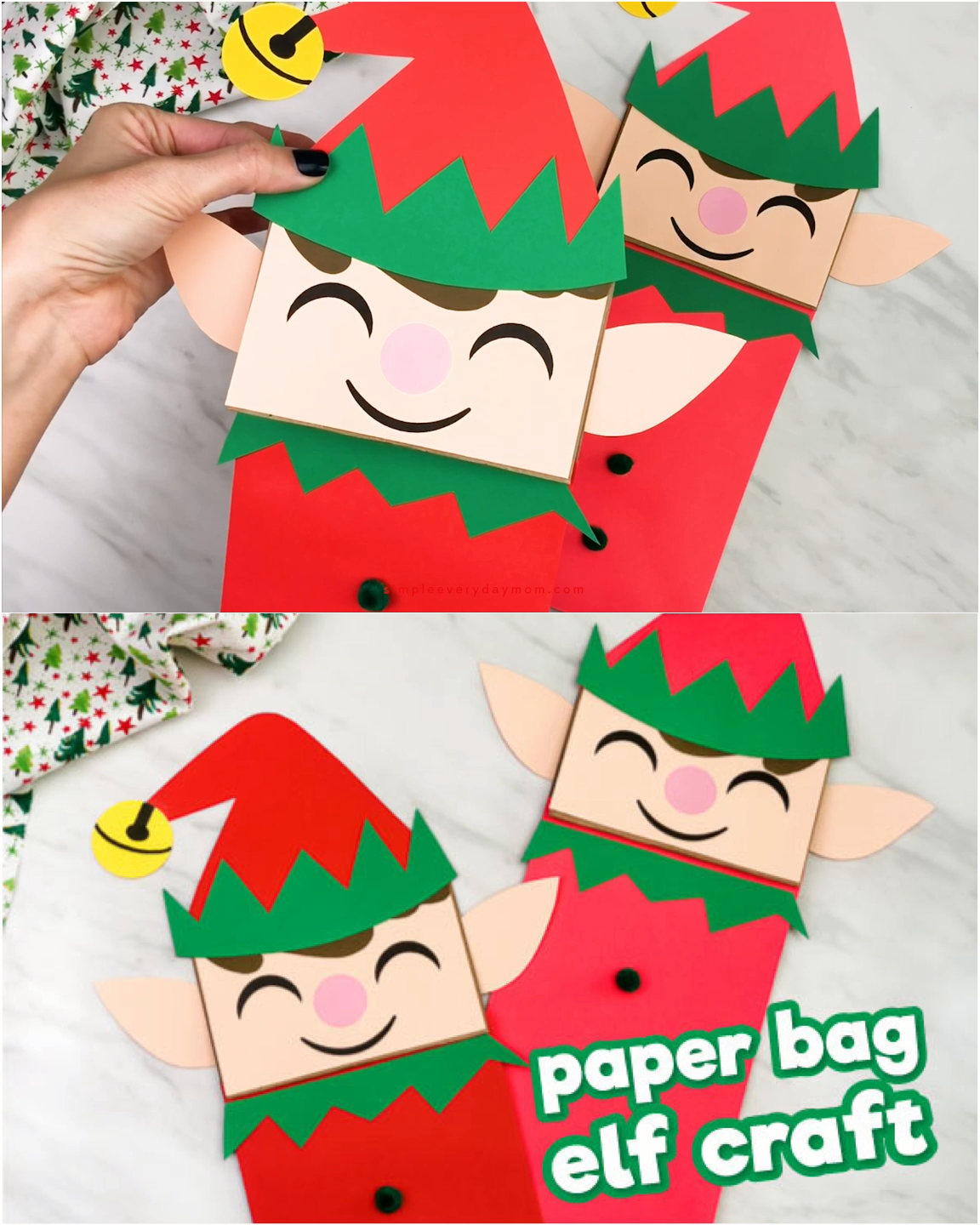 Make this cute and easy paper bag elf puppet this Christmas season! It's a fun Xmas craft that comes with a free printable template so it's easy to recreate at home, in the classroom, daycare or library!  #simpleeverydaymom #paperbagcrafts #elfcrafts #christmascrafts #xmascrafts #kidscrafts #daycarecrafts #librarycrafts #classroom
