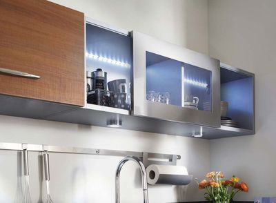 Inspirant Meuble De Cuisine Haut Avec Porte Coulissante - Spot sous meuble cuisine ikea pour idees de deco de cuisine