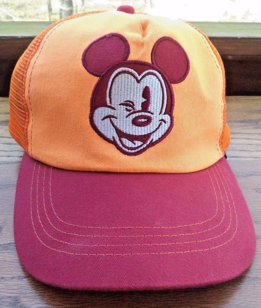 21e66a05bcf Disney Snapback Hat Cap Mickey Mouse Vintage Disney Parks Orange Panels Mesh   DisneyWorld