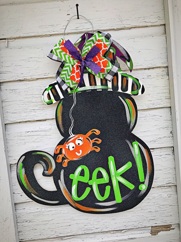 Halloween Door Hanger - Fall Door Hanger -Black Cat Door Decor - pinterest halloween door decor