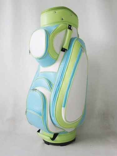 Luxurious all in one word!The Ladies Classic Sophie Cart Bag adds style and color to the golf course. Our classic mocha cart bag features maximum performance with soft vegan leather and is easy to clean, fade resistant, and waterproof.The top front pocket is removable for monogramming and comes with free initial or a name monogram of your choice.Bag Colors:Powder Blue, Lime Green & White   $249.00
