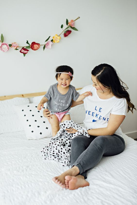 Mommy and me tees, The Snuggle Is Real and Le Weekend @jillcollierphotographer