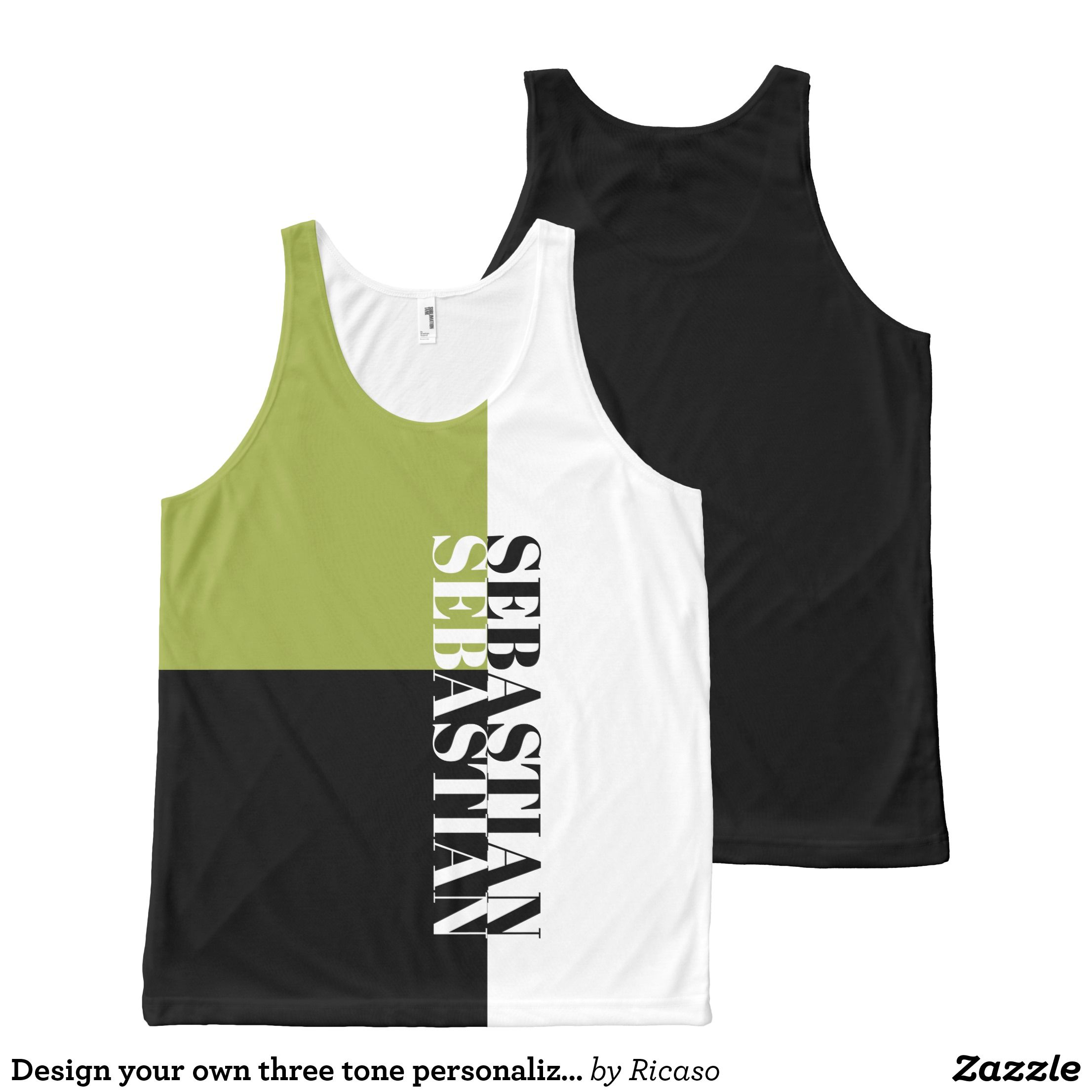 Design your own three tone personalized text All-Over-Print tank top