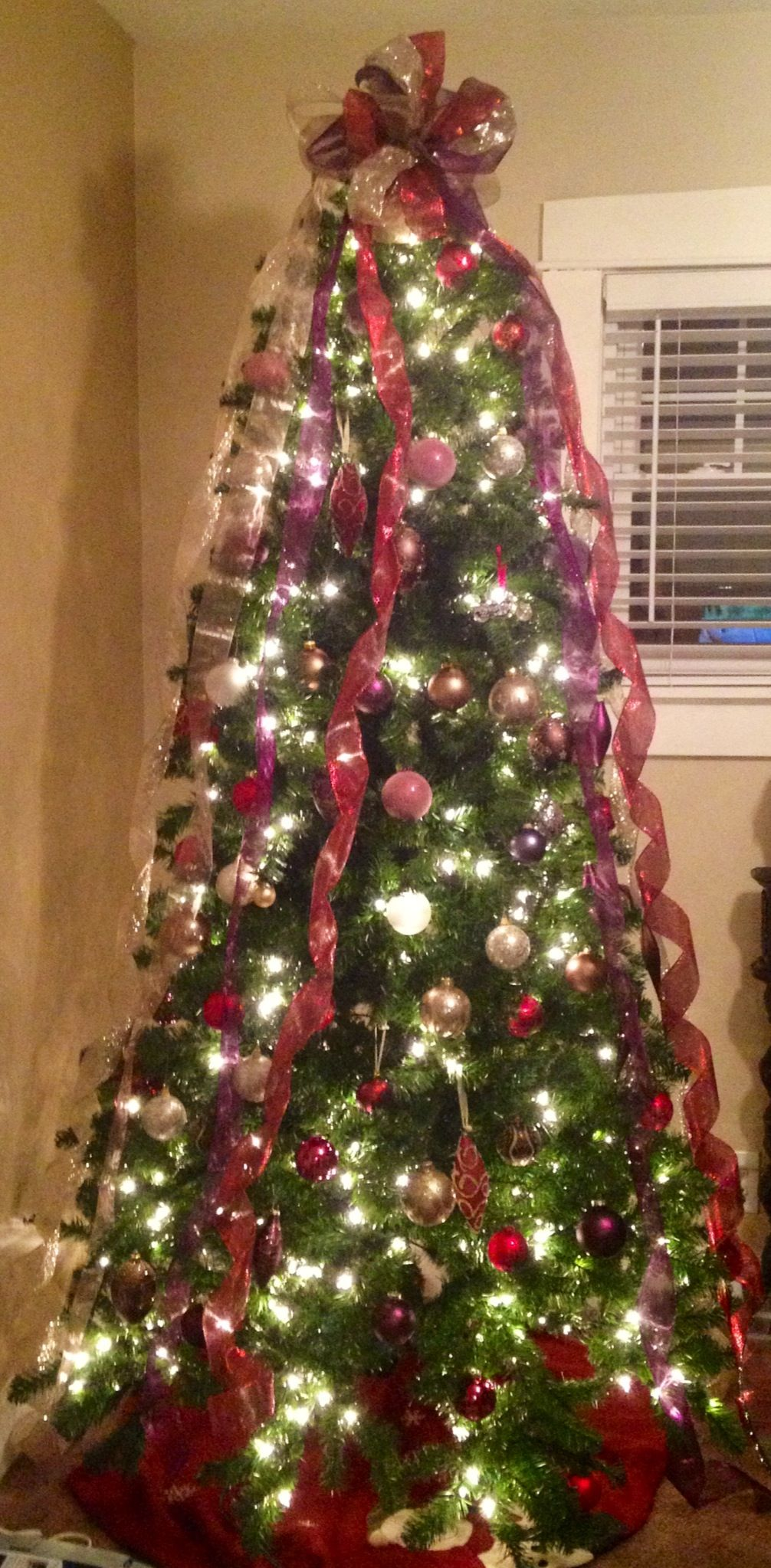 Red Gold Brown And Purple Christmas Tree Homemade Bow Topper