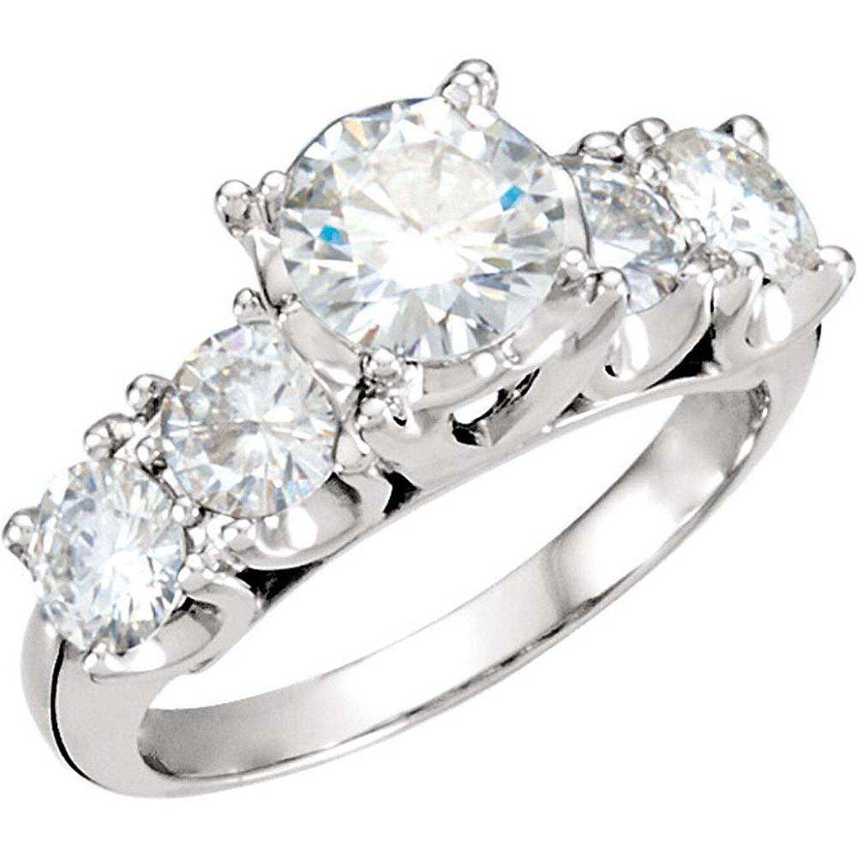 2 1/3 CTTW Created Moissanite Engagement Ring in 14k White