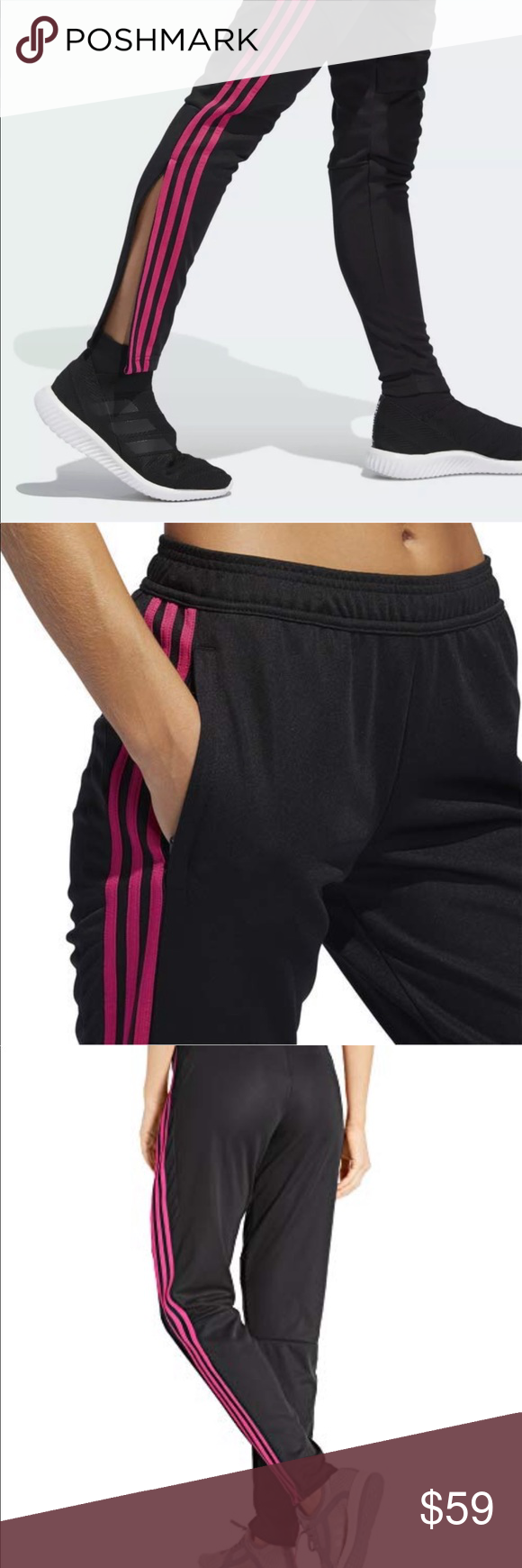 92f36d8da3 Adidas Tiro 19 Soccer Training Pants Black/Magenta Condition is New ...