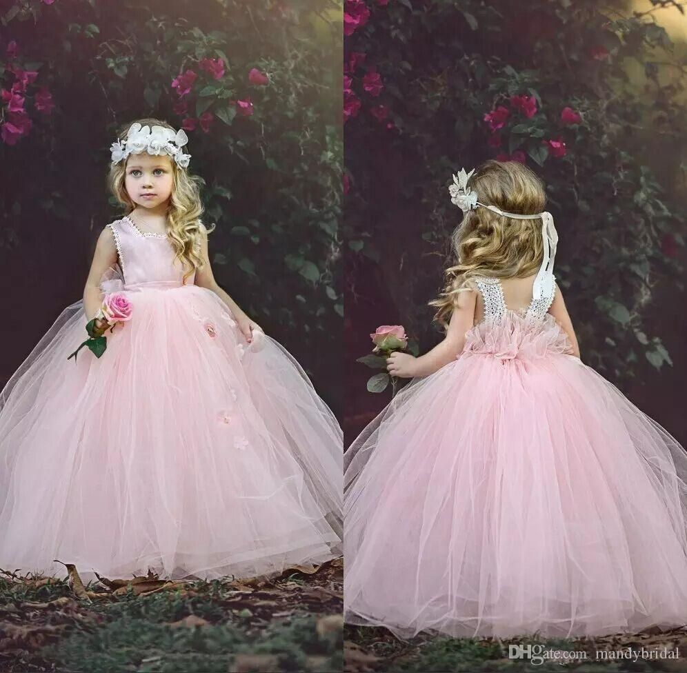 cute pink lace ball gown flower girl dresses with tutu skirt
