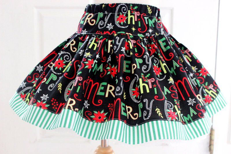 270135090215 ...  etsy shop  Girls Merry Christmas skirt Holiday outfit for girls Baby  and toddler girl holiday clothing Green red black set Size 2t 3t 4t 5 6 7 8  10 12