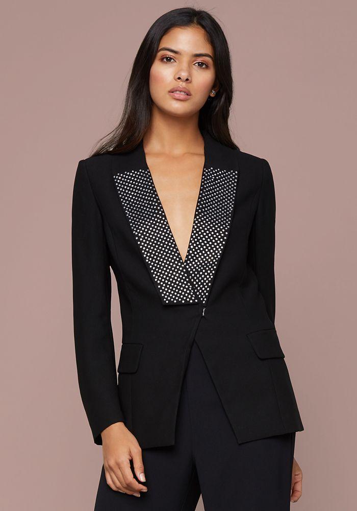 ead68ccf52 Bebe Women's Crystal Collar Crepe Blazer, Size 10, Jet Black ...