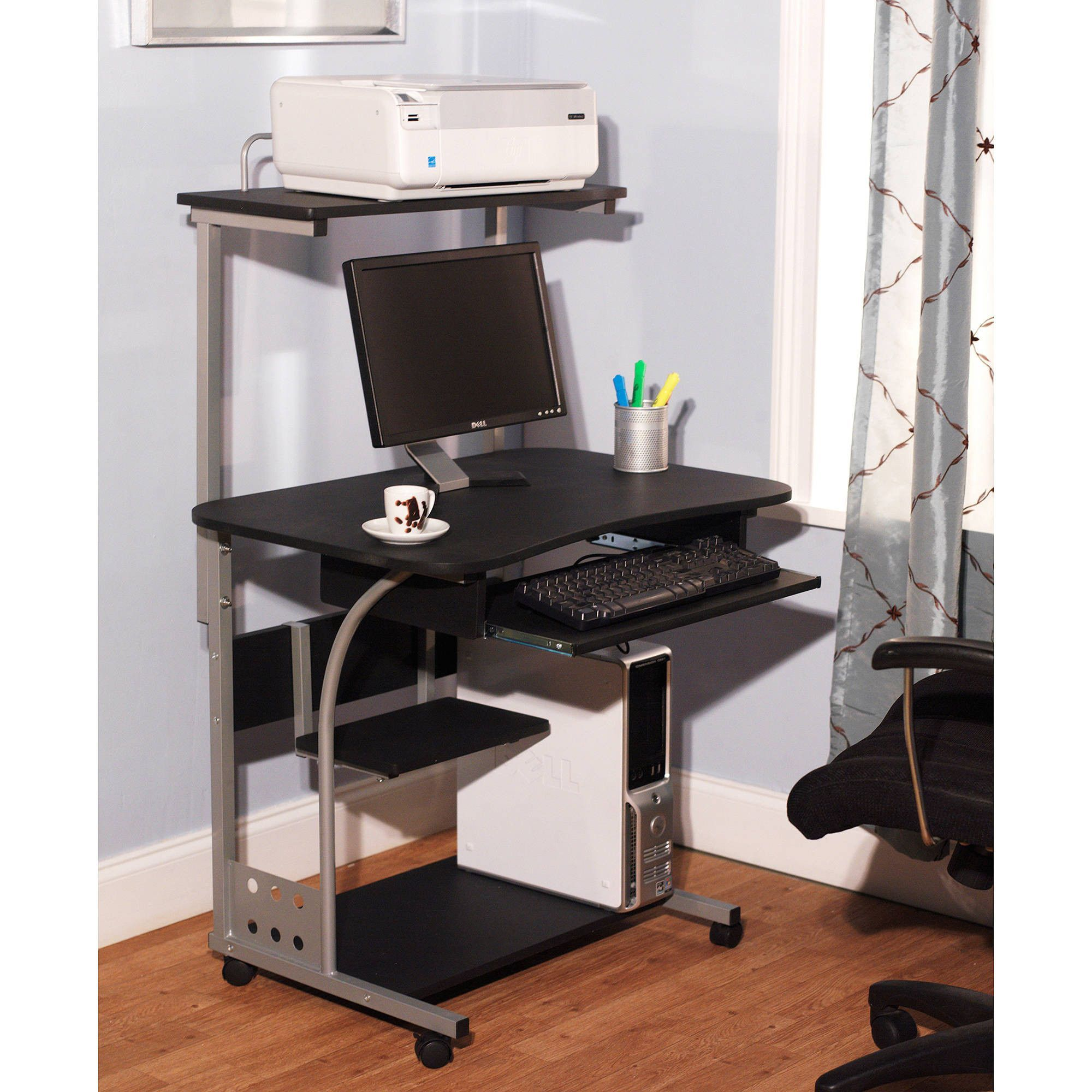 Small pact Mobile Portable puter Tower with Shelf Desk with