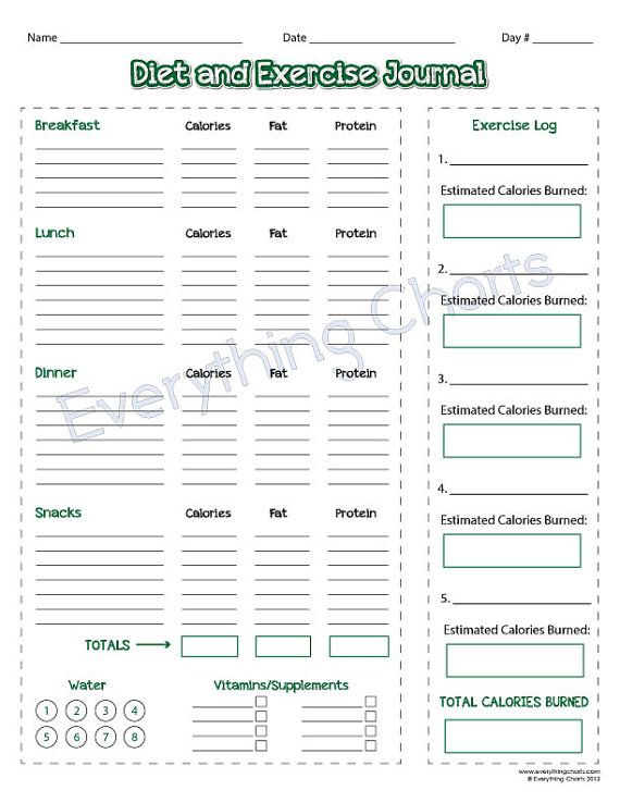 Diet and Exercise Journal PDF File\/Printable by EverythingCharts - food log templates