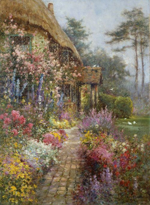 Beautiful Watercolor By Alfred De Breanski Jr Jardin
