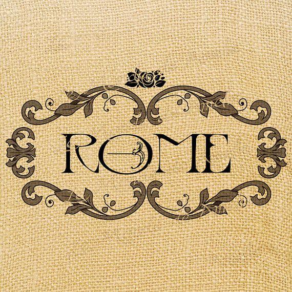 Rome  italy europe romantic label tag word rose print par JLeeloo2, $1,00
